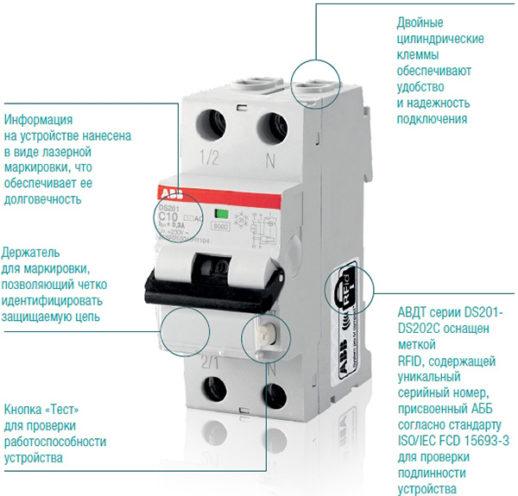 Внешний вид автоматического дифференциального выключателя ABB