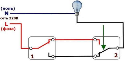Схема проходного выключателя с двух мест на одну лампочку