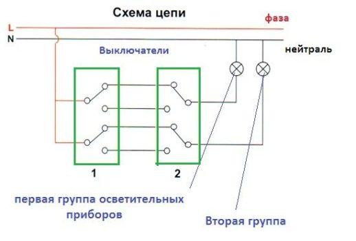 Схема соединения цепи двухклавишного ПВ с двумя с двух мест управления