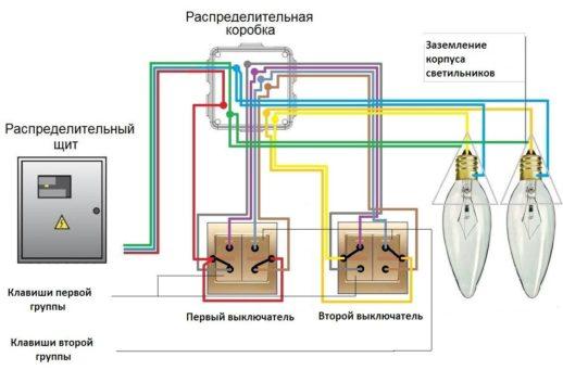 Схема расключения ПВ двойного, системы освещения с разных мест, с двумя группами светильников