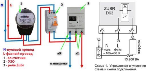 Схема подключения и упрощённая внутренняя схема РН Zubr-63
