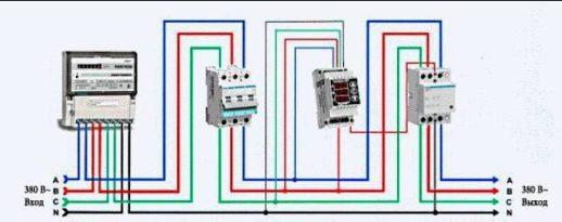 Схема подключения трехфазного пускателя к РН