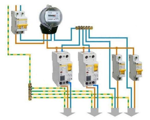 Типовая схема подключения дифференциального выключателя