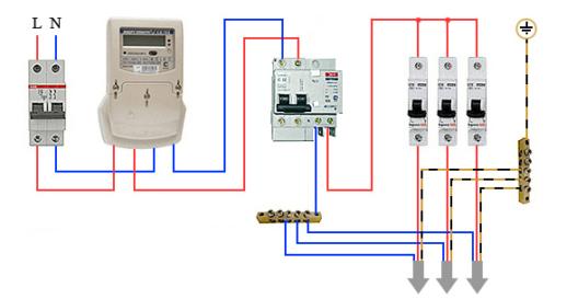 Схема подключения дифавтомата в однофазной сети с заземлением