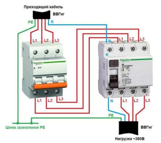 Схема подключения трехфазных приборов защиты