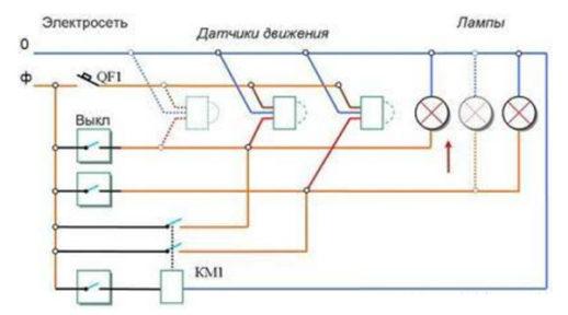 2 и более датчика в подъезде, схема подключения.