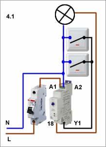 Схема подключения освещения через реле задержки выключения
