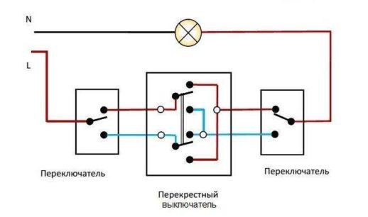Схема 2 контактов перекрёстных выключателей