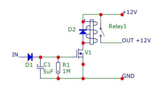 Схема реле времени (РВ) 12 вольт с задержкой выключения для автомобиля