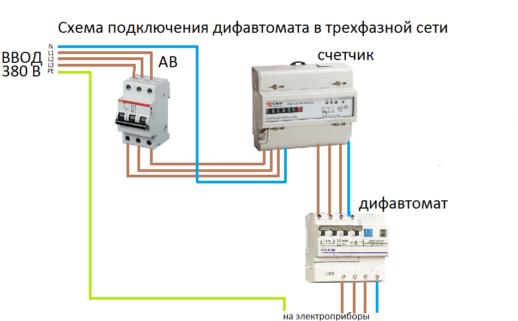 Схема подключение дифавтомата в трехфазной сети