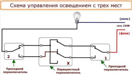 Схема управления освещения с трех мест