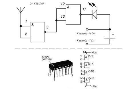 Рис. 6 Схема искателя проводки на микросхеме К561Ла7